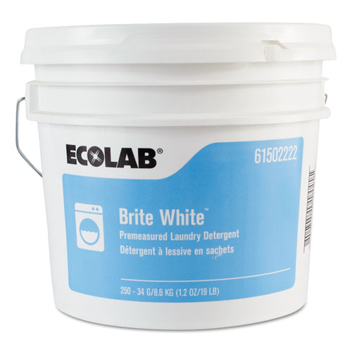 Ecolab® Brite White NP Laundry Detergent, Fresh, 1.2oz Packets, 250 Packets/Pail