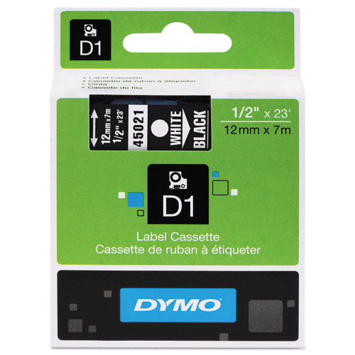 "D1 High-Performance Polyester Removable Label Tape, 0.5"" x 23 ft, White on Black 