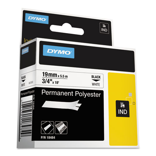 """RHINO PERMANENT POLY INDUSTRIAL LABEL TAPE, 0.75"""" X 18 FT, WHITE/BLACK PRINT"""