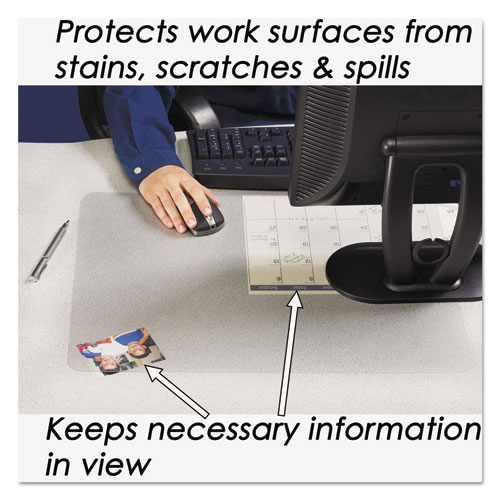 KrystalView Desk Pad with Antimicrobial Protection, 36 x 20, Clear