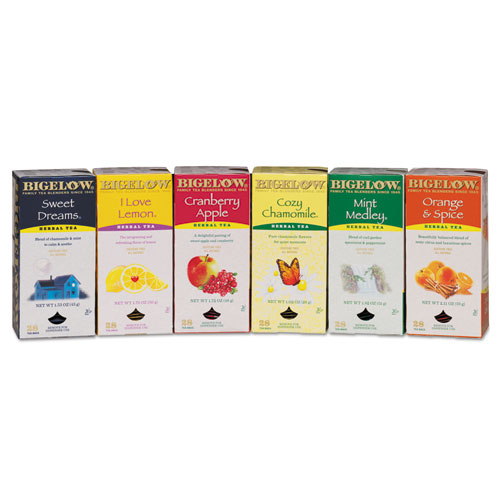 Bigelow® Assorted Tea Packs, Six Flavors, 28/Box, 168/Carton