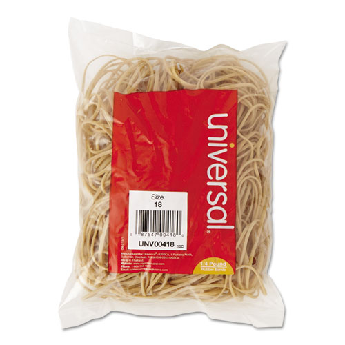 "Rubber Bands, Size 18, 0.04"" Gauge, Beige, 4 oz Box, 400/Pack 