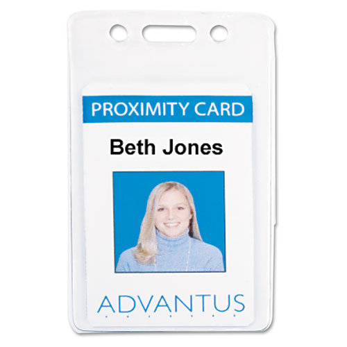 Proximity ID Badge Holder, Vertical, 2.68 x 4.38, Clear, 50/Pack