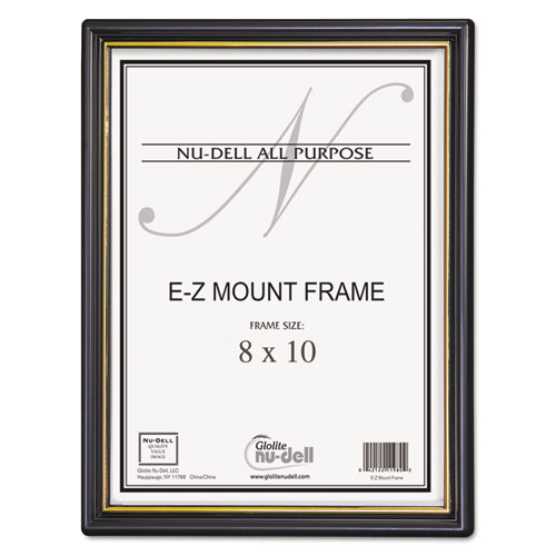 EZ Mount Document Frame/Accent, Plastic, 8 x 10, Black/Gold | by Plexsupply