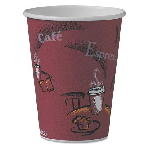 Bistro Design Hot Drink Cups, Paper, 12oz, Maroon, 50/Pack 412SINPK