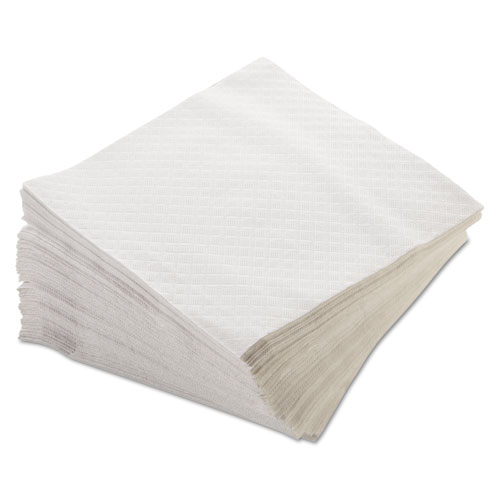 Dinner Napkins, 1-Ply, 15 x 17, White, 250/Pack, 16 Packs/Carton | by Plexsupply