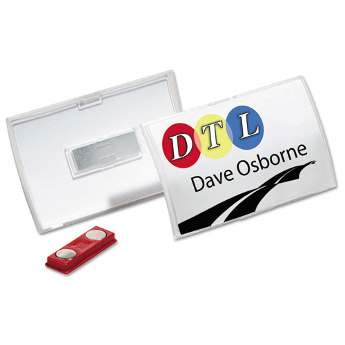 Click-Fold Convex Name Badge Holder, Double Magnets, 3 3/4 x 2 1/4, Clear, 10/Pk | by Plexsupply