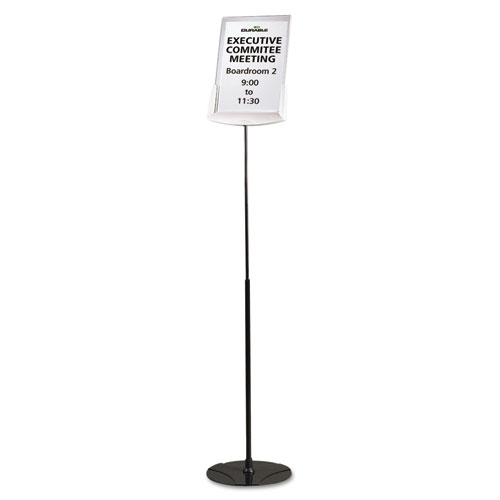 "Sherpa Infobase Sign Stand, Acrylic/Metal, 40""-60"" High, Gray 