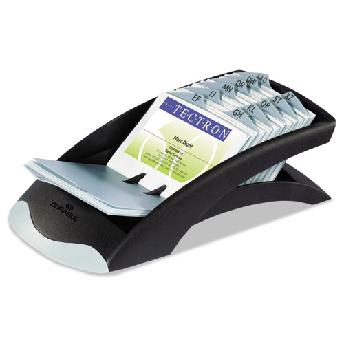 VISIFIX Desk Business Card File, Holds 200 4 1/8 x 2 7/8 Cards, Graphite/Black | by Plexsupply