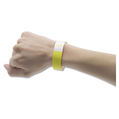 Crowd Management Wristbands, Sequentially Numbered, 9 3/4 x 3/4, Yellow, 500/PK