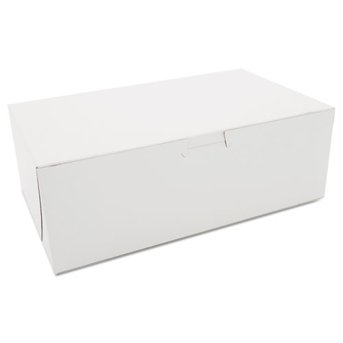 Non-Window Bakery Boxes, Paperboard, 10w x 6d x 3 1/2h, White, 250/Bundle