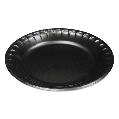 Laminated Foam Dinnerware, Plate, 6, Black, 125/Pack