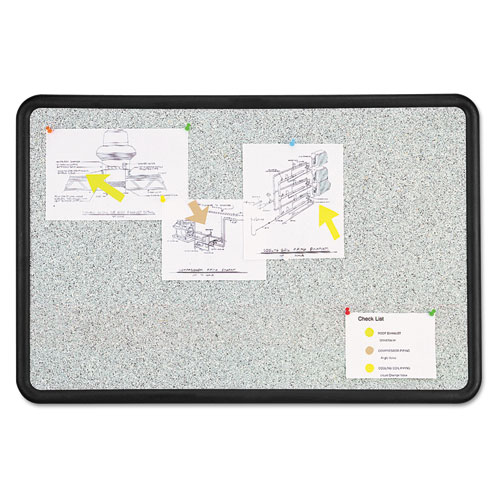 Quartet® Contour Granite Gray Tack Board, 36 x 24, Black Frame