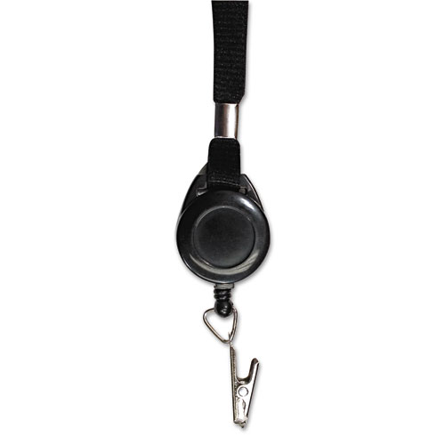 Lanyards with Retractable ID Reels, Clip Style, 34 Long, Black, 12/Carton