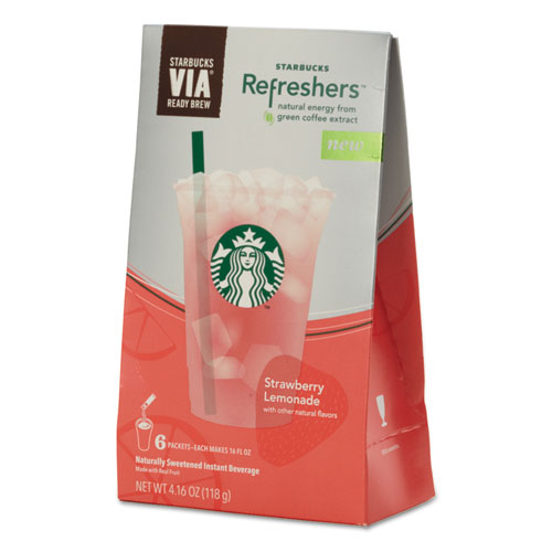 VIA Refreshers, Strawberry Lemonade, 4.16 oz Pack, 6/Box