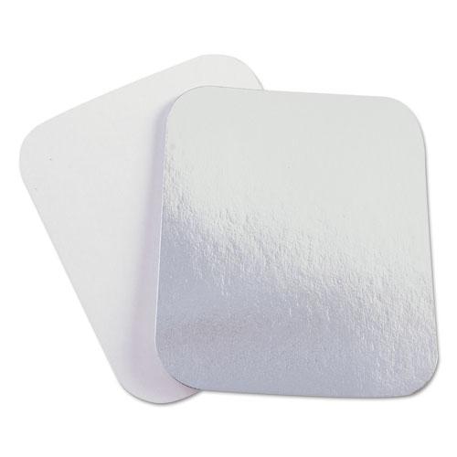 Laminated Board Lid, Aluminum/Paper, 5 1/2 x 4 1/2, 1000/Carton
