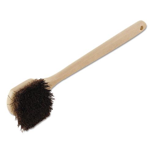 "Utility Brush, Palmyra Bristle, Plastic, 20"", Tan Handle"