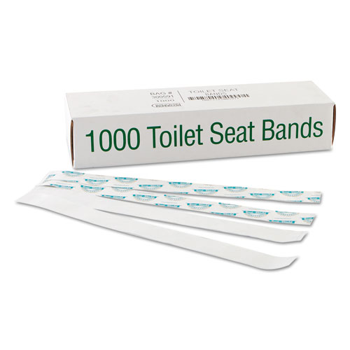 "Sani/Shield Printed Toilet Seat Band, Paper, Blue/White, 16"" Wide x 1-1/2"" Deep 