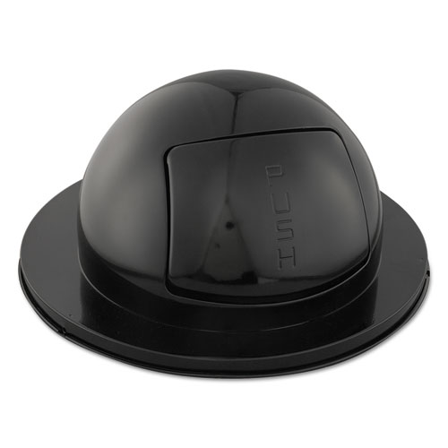 Domed Drum Lid with Push Door, Round, 24.5 x 12.25, Black