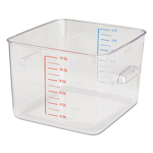 SpaceSaver Square Containers, 12 qt, 10 1/2 x 11.3 x 7 3/4, Clear