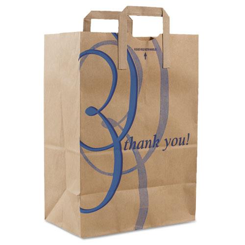 Stock Thank You Handle Bags, 12 x 17, Brown, 300/Carton