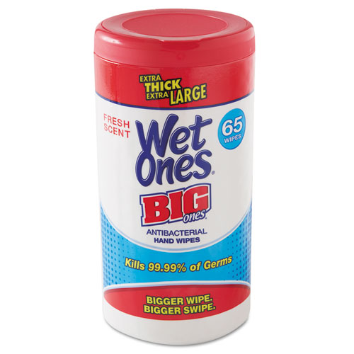 "Wet Ones® Wet Ones Big Ones Antibacterial Wipes, 4 1/2"" x 8"", White, 65 Wipes, 6 Boxes/CT"
