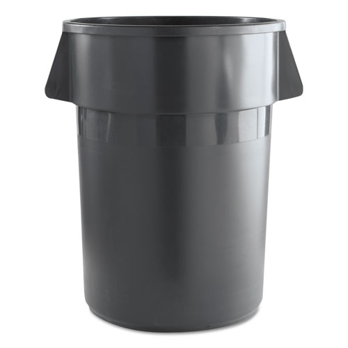 Round Waste Receptacle, Plastic, 44 gal, Gray