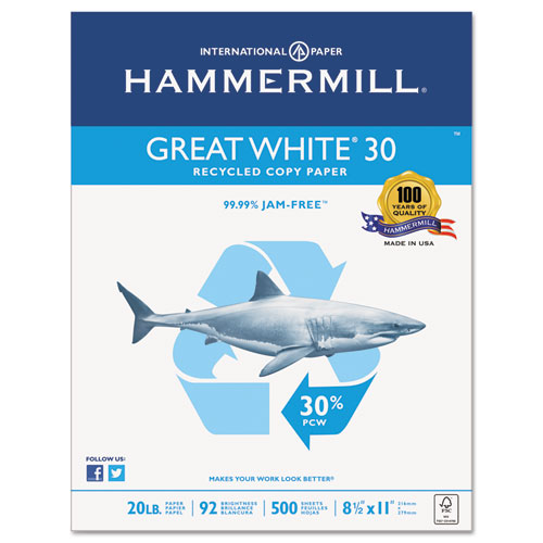 Great White 30 Recycled Print Paper, 92 Bright, 20lb, 8.5 x 11, White, 500/Ream
