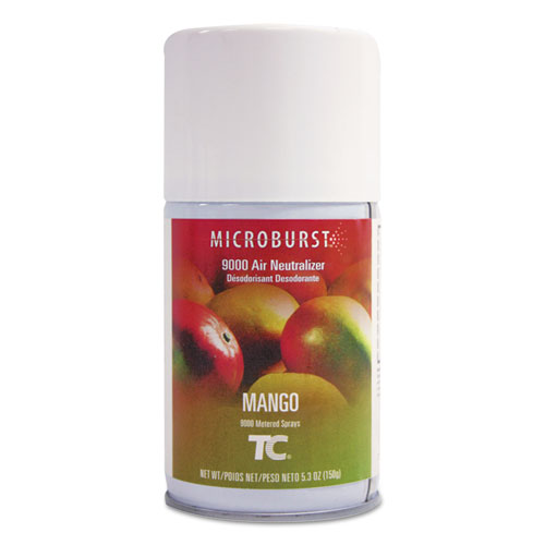 Rubbermaid® Commercial Microburst 9000 Air Freshener Refill, Mango, 5.3 oz, Aerosol, 4/Carton