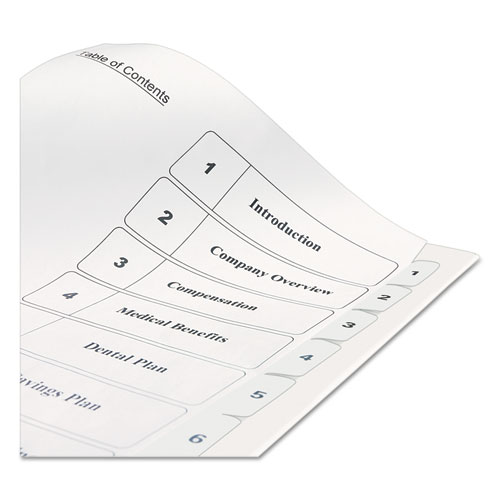 avery table of contents template 10 tab - customizable toc ready index black and white dividers 10