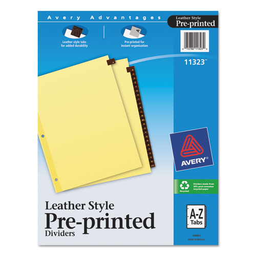Avery® Preprinted Red Leather Tab Dividers w/Clear Reinforced Edge, 25-Tab, Ltr