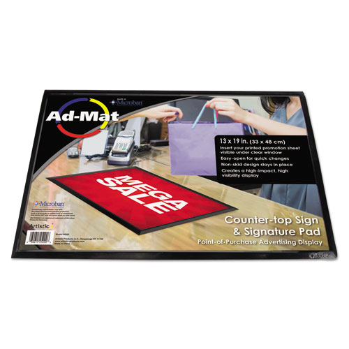AdMat Counter-Top Sign Holder & Signature Pad, 13 x 19, Black Base