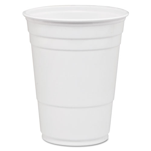Party Plastic Cold Drink Cups, 16-18 oz, White, 50/Bag, 1000/Carton P16W