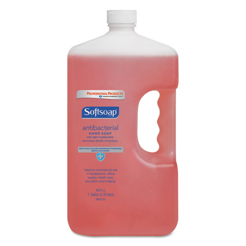 Antibacterial Liquid Hand Soap Refill, Crisp Clean, Pink, 1gal Bottle, 4/Carton