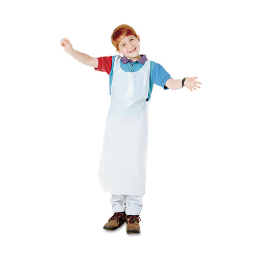 Disposable Apron, Polypropylene, One Size Fits All, White, 100/Pack 64620