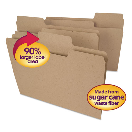 Tree Free SuperTab File Folders, 1/3-Cut Tabs, Letter Size, Natural Brown, 100/Box