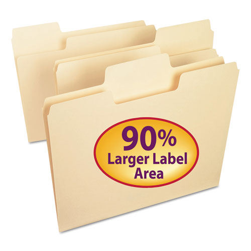 SuperTab Top Tab File Folders, 1/3-Cut Tabs, Letter Size, 11 pt. Manila, 100/Box | by Plexsupply