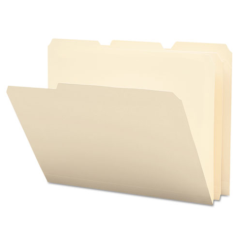 Poly Manila Folders, 1/3-Cut Tabs, Letter Size, 12/Pack | by Plexsupply