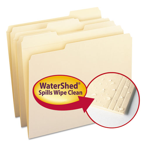 WaterShed Top Tab File Folders, 1/3-Cut Tabs, Letter Size, Manila, 100/Box | by Plexsupply
