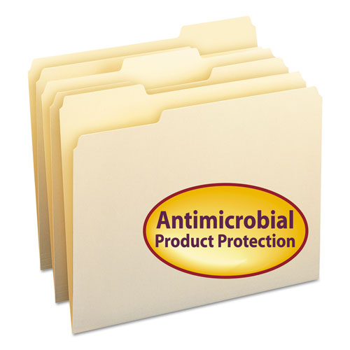 Top Tab File Folders with Antimicrobial Product Protection, 1/3-Cut Tabs, Letter Size, Manila, 100/Box