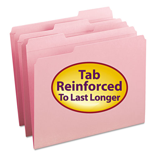 REINFORCED TOP TAB COLORED FILE FOLDERS, 1/3-CUT TABS, LETTER SIZE, PINK, 100/BOX