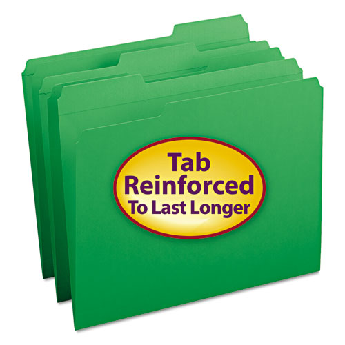 Smead® File Folders, 1/3 Cut, Reinforced Top Tab, Letter, Green, 100/Box