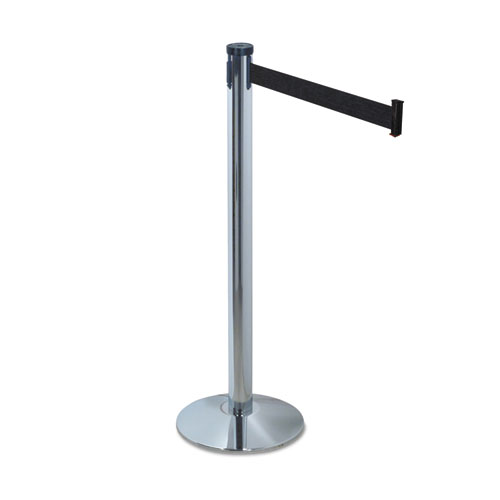 "Adjusta-Tape Crowd Control Stanchion Posts, Nylon, 40"" High, Black, 2/Box"