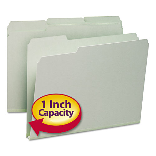 "Smead® Expanding Recycled Heavy Pressboard Folders, 1/3-Cut Tabs, 1"" Expansion, Letter Size, Gray-Green, 25/Box"