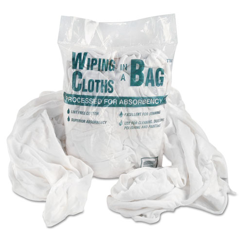 Bag-A-Rags Reusable Wiping Cloths, Cotton, White, 1lb Pack | by Plexsupply
