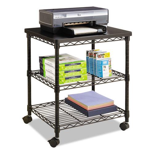 Desk Side Wire Machine Stand, Three-Shelf, 24w x 20d x 27h, Black