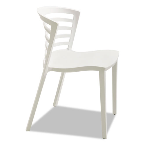Entourage Stack Chairs, White Seat/White Back, White Base, 4/Carton | by Plexsupply