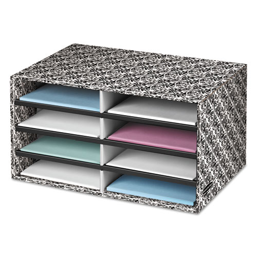 Decorative Sorter, 8 Letter Sections, 19 1/2 x 12 3/8 x 10 1/4, BK/WE Brocade | by Plexsupply