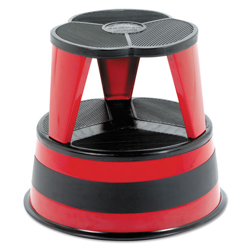 Kik-Step Steel Step Stool, 2-Step, 350 lb Capacity, 16 dia. x 14.25h, Red