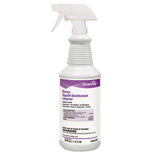 Diversey™ Envy Liquid Disinfectant Cleaner, Lavender, 32 oz Spray Bottle, 12/Carton